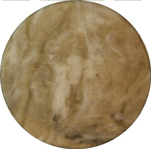 Large Buffalo Rawhide Drum Front