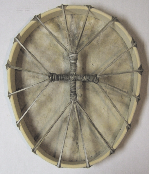 Buffalo Egg-Shaped Drum with Lightning-Shaped Scar