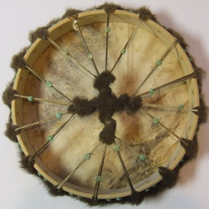 Buffalo Rawhide with Fur Drum Back