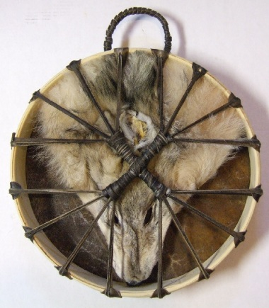 Wolf and Buffalo Drum Back